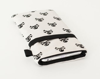 New iPhone 7 Plus Wallet, Galaxy S7 Cover, Padded Motorola Droid Bag, Smartphone Sleeve, Phone Cases - black white skulls crossbones