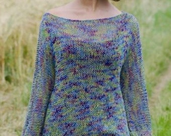 Ladies Long Knitted Sweater, Knitting Pattern.PDF Instant Download.