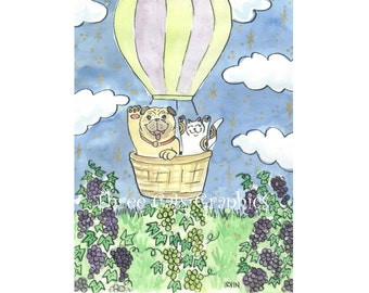 A Lucky Flight Over the Vineyard - Choose from ACEO Print, Note Card with Stickers, or Art Print