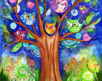 Owls Tree Painting original watercolor 8x10 colorful blue