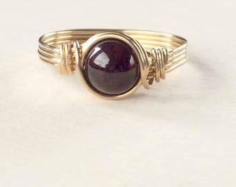 Garnet Ring, Gold wire wrapped garnet ring, Garnet wire wrapped ring, Gemstone Ring