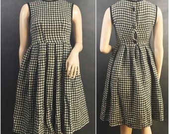 1950s Black and White Houndstooth Dress by Petti // Classic Vintage Houndstooth Dress by Petti, 50s, 60s