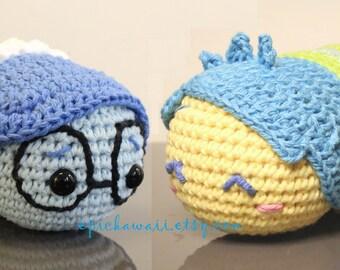 PATTERN 2-PACK: Joy and Sadness Tsum Tsum Crochet Amigurumi Dolls