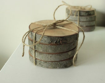 Coasters made of wood puck