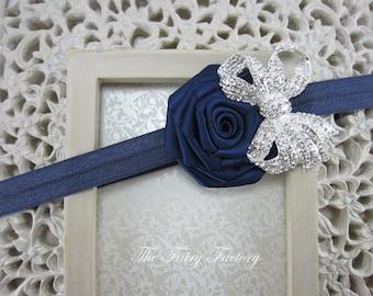 Navy Blue Flower Headband - Navy Blue Satin Rose w/ Sparkling Rhinestone Crystal Bow Headband - Baby Toddler Child Girls Headband