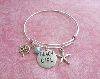Bangle Beach Girl Gifts for Her Beach Jewelry Bangle Charm Bracelet Hand Stamped Jewelry