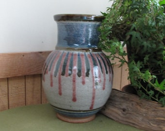 Vintage Walt Glass Art Pottery Gray Blue and Mauve Hand Thrown Vase