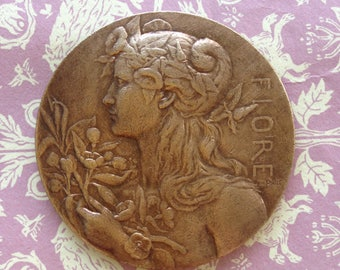 Vintage French Brass Stamping/Lg Vintage Goddess Fiore Stamping(1 Pc)Brass Stampings/Vintage Brass French Flower Goddess/French Findings/#50