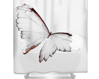 Grey Butterfly Shower Curtain,Butterfly,White,Gray Orange,Butterfly Bathroom Decor,Bathroom Curtain,Accessory,Designer Shower Curtain