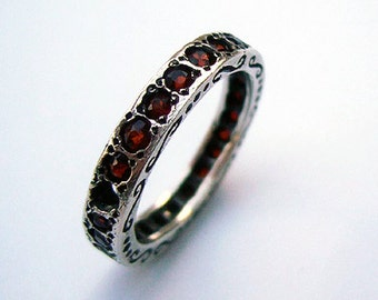 Garnet  Silver Ring, January Birthstone, Silver Garnet Band,  Israeli Jewelry, Multistone Band, Red Stone Ring, Israeli Rings