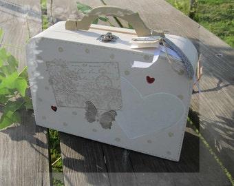 Valisette Urne de Mariage, Papillon et coeur, Petit modèle en bois
