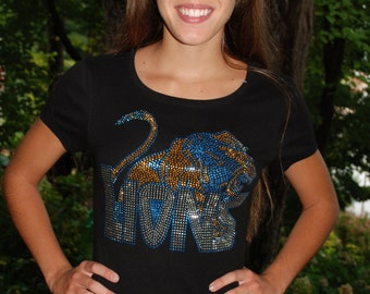 Lions rhinestud   bling  shirt,  all sizes XS, S, M, L, XL, XXL, 1X, 2X, 3X, 4X, 5X Lewisville High School