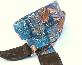 Teal Feather Guitar Strap, Choose your Leather Ends, Fully Adjustable and Comfortable