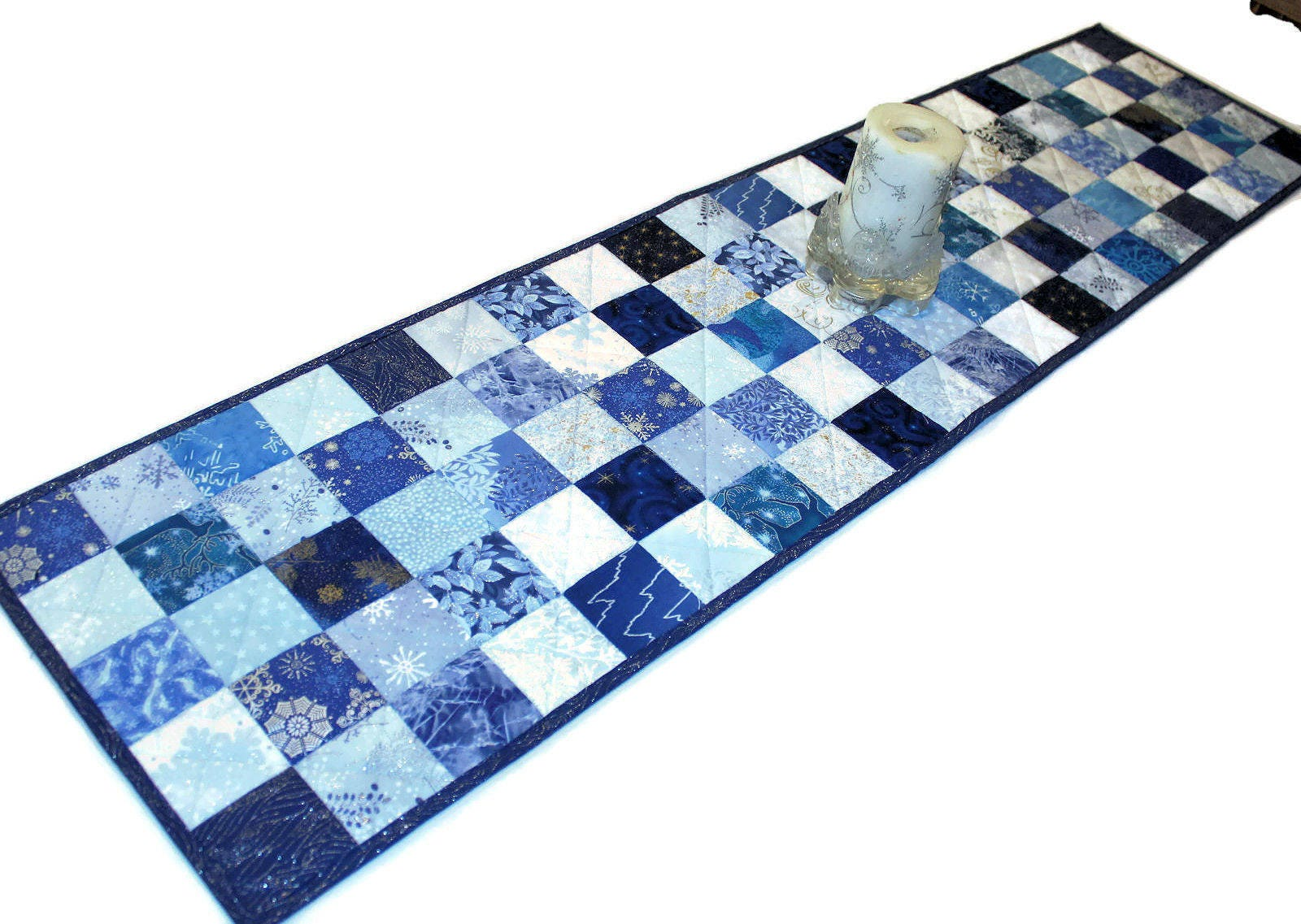 Quilted Christmas Table Runner Blue Silver White Snowflakes