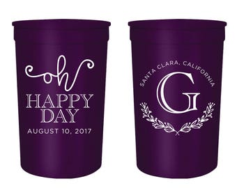 Monogrammed Cups, Monogrammed Wedding Cups, Oh Happy Day Cups, Oh Happy Day Wedding Cups, Rustic Wedding Cups, Cute Wedding Cups (9)