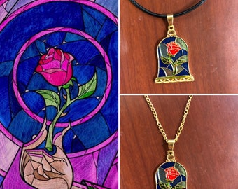 Beauty and the beast inspired rose necklace, Belle's necklace, beauty and the beast enchanted rose necklace, stained glass rose necklace
