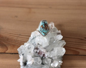 Turquoise Sterling Silver Ring // Size 6 // Carico Lake Turquoise// hand made ring// gifts for her// bridesmaid gifts