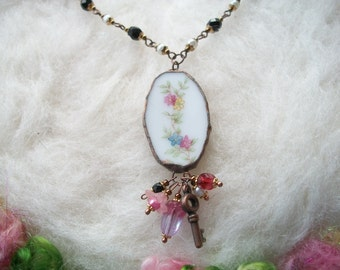 Recycled Jewelry Broken China Necklace with Beaded Chain Recycled Plates and Cups Floral Garland Motif Handmade Bezel and Glass Beads