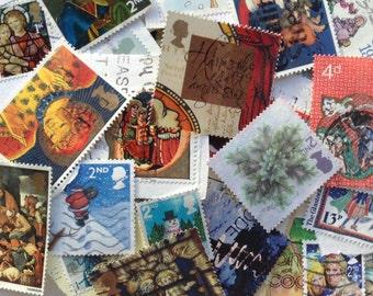 30 Assorted UK Christmas Postage Stamps - Collage - Cards - Smash Books - Junk Journals - Decoration