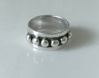 Beaded Sterling Silver Modernist Ring