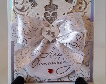 Beautifully  Unique Handmade 25th Anniversary Greeting Card