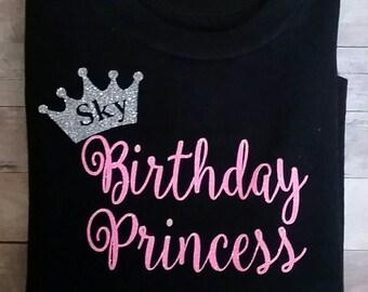 Birthday princess personalized glitter t-shirt.
