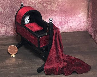 Dollhouse Gothic Victorian baby cradle, miniature, red silk, black and silver, 1:12 1/12 1""