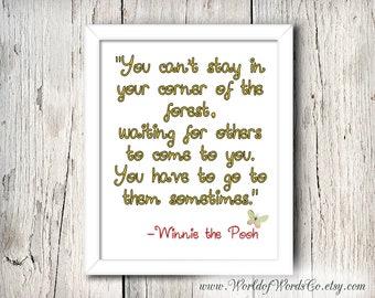 Winnie the Pooh Print, Your Corner of the Forest, Digital Printable, Nursery Print, Disney Wall Art, Disney Decor, Bedroom Decor, Pooh Quote