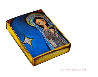 Nativity Star II  -  Giclee print mounted on Wood (4 x 5 inches) Folk Art  by FLOR LARIOS