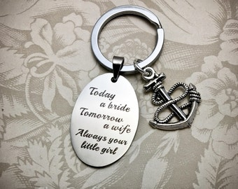 FOB2, Father of the Bride Keychain, Choose Your Charm, Father of the Bride Gifts, Today a Bride key chain, Father of the Bride Quotes, Dad