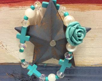 Turquoise rose stretch bracelet