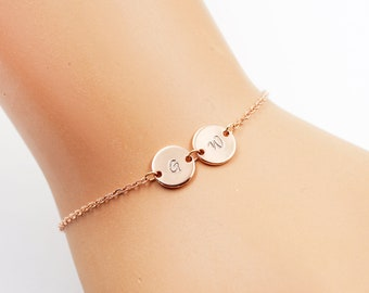 Initial Bracelet, Monogram Bracelet, silver bracelet, gold bracelet, Initial Disc, Charm Bracelet, Bridesmaid Bracelet, side way Bracelet