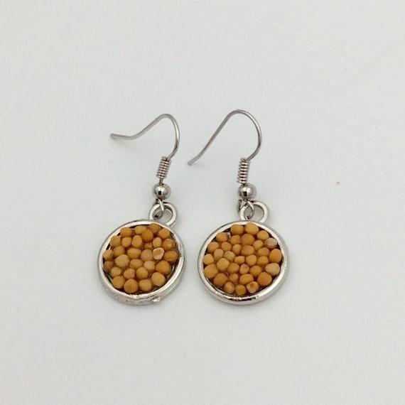 JW Mustard Seed Drop Earrings, silver plated