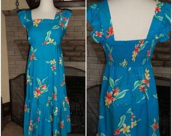 50's 60's Hawaiian Muumuu Dress Midi Smock Back Straps S+- ROYAL HAWAIIAN Cotton Wing Slv Turquoise Bold Tropical Floral Bottom Ruffle Beach