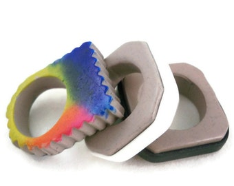Polymer art rings set of three rainbow, black and white with gray unique rings