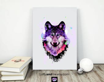 Wolf Print, wolf illustration, Wolf art poster, wolf art work, Wolf Art, Wolf Wall Art, wolf art print, coloful wolf, Wolf decor, Wolf Face