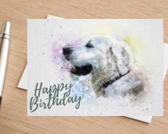 Dog Golden Retriever Happy Birthday Greetings Card