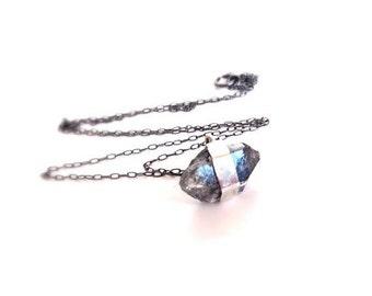 Black Diamond Silver Necklace, Dainty Minimal Necklaces, Crystal Pendant Necklace, Herkimer Diamond