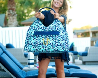 Personalized Embroidered Waves Beach Bag
