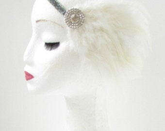 Ivory White Silver Feather Headband Great Gatsby Flapper Girl Headdress 1920 Y41