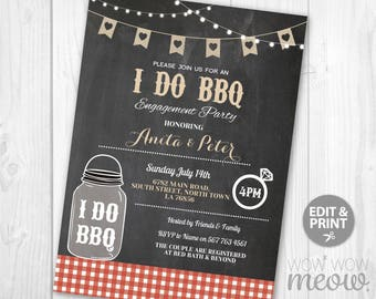 I Do BBQ Invitation Couple's Shower Printable Invite Engagement Party INSTANT Download Jar Lights Red Chalk Personalize Editable Printable