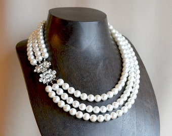 Statement pearl necklace, pearl bridal necklace, multi strand pearl necklace, luxury bridal jewelry
