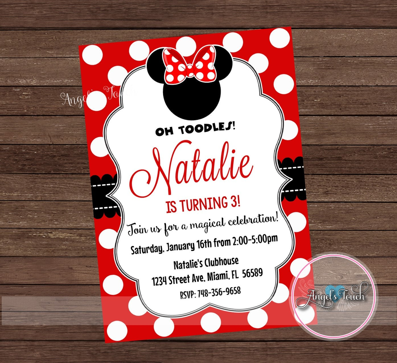 Minnie Mouse Party Invitation, Minnie Mouse Red and Black Invitation ...