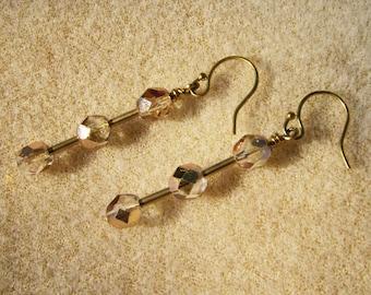 Delicate Pink Earrings - Beautiful Faceted Glass, Gold Pierced by JewelryArtistry - E484
