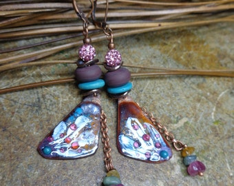 Rustic earrings/boho chic, poetic, Eggplant and blue earrings, earrings enamel copper and Lampwork beads.
