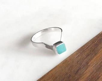 Turquoise Ring - Silver Ring, Turquoise Silver Ring, Arrow Ring, V Ring, Sterling Silver Ring, Kingman Turquoise, Boho Ring, Handmade Ring