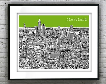 Cleveland Skyline Poster Print Art Ohio OH Version 2