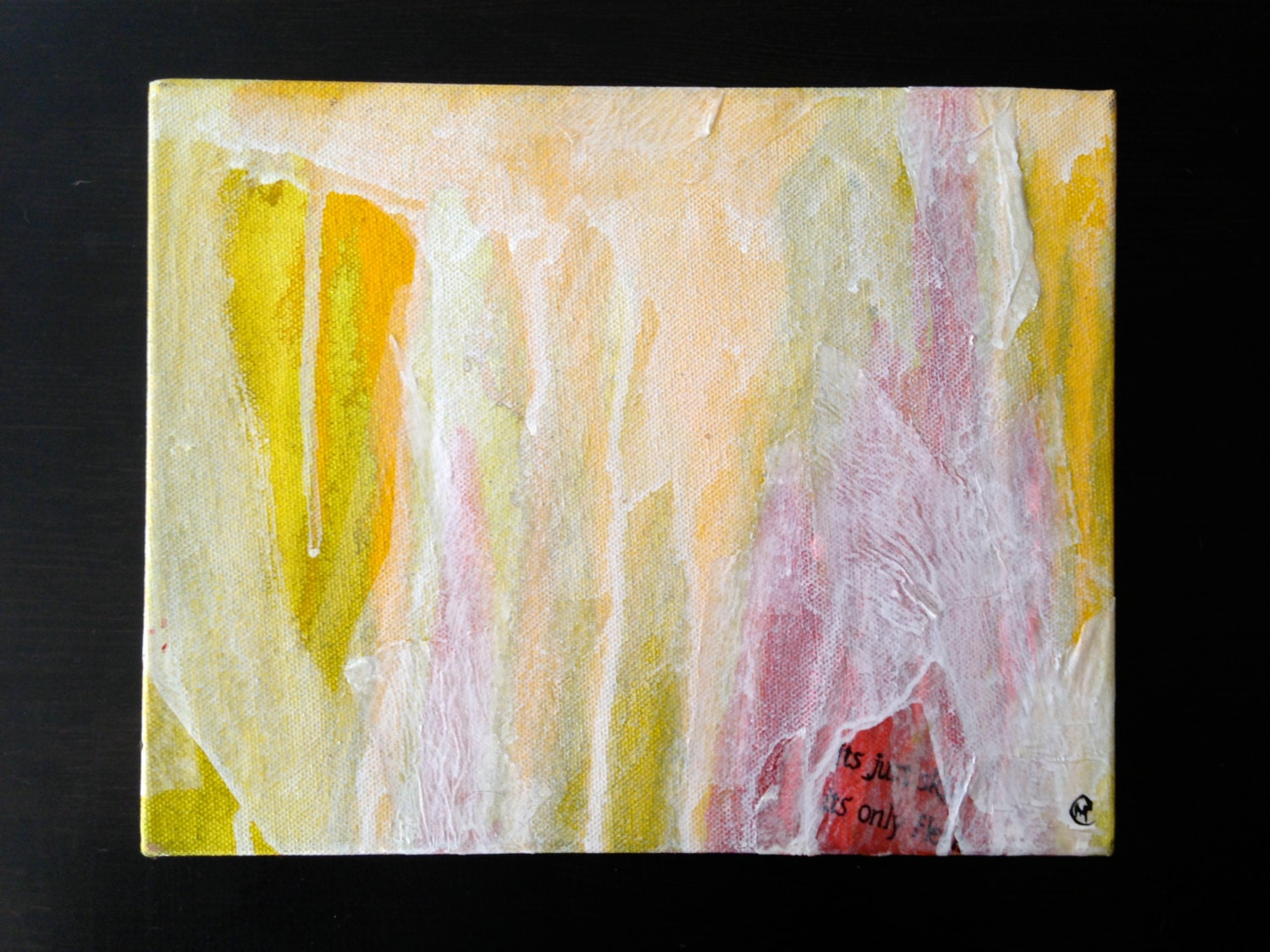 pallor modern abstract painting acrylic paint in yellow