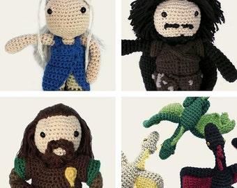 Game of Thrones Pack: Daenerys, Jon Snow, Ned Stark & Daenerys Dragons. Amigurumi Patterns, PDF, DIY, Crafts, Crochet, Geek, Gift, TV Series