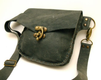 Grey Leather Fanny Pack with Antique Brass Swing Clasp